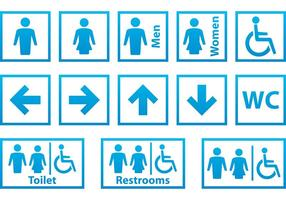 Blå och vita toaletter