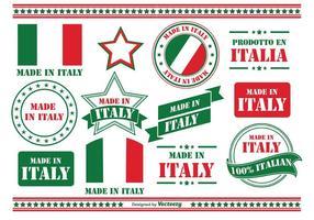 Tillverkad i Italien Etiketter vektor