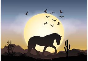 Vild häst landskap illustration vektor