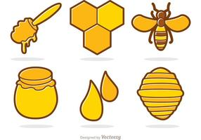 Honung och Bee Cartoon Vector