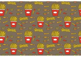 Fria Fries Med Sås Mönster Vector