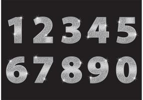 Silber Glitzer Zahlen vektor