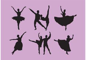 Set av nötknäppare Ballet Dancer Silhouettes vektor