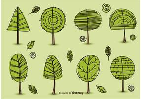 Handgezogene Bäume Vektoren