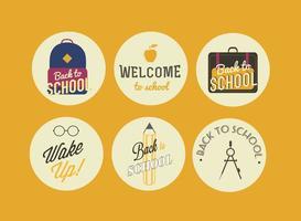 Vektor tillbaka till skolan märken