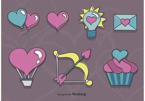 Skizzenhafte Valentinsgruß-Ikonen