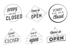 Free Vector Open und Closed Business Labels