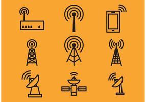 Antennen-Turm und Satelliten-Vektor-Icons