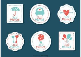 Genähte Gerade verheiratete Hochzeitsvektoren