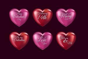 3d kärlek hjärtan vektor