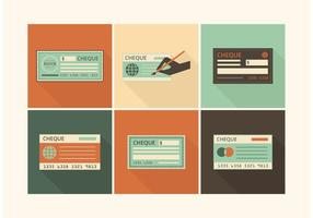 Gratis Retro Blank Check Vector Set