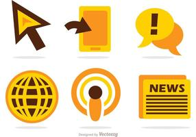 Nachrichten Massenmedien Icons Vektor