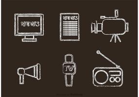 Kreide gezogene Massenmedien Ikonen Vektor