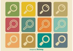 Retro / Viintage Stil Suche Icon Set