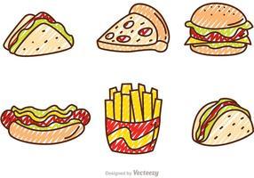 Gekritzel Fast Food Vektoren