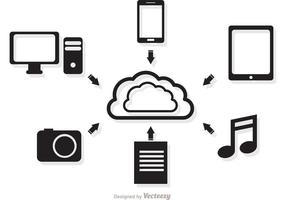 Cloud Computing-Konzept in Schwarz-Weiß-Vektor vektor