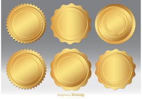 Guld förseglar vektor uppsättning