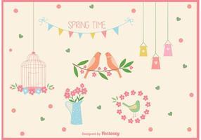 Vektor Frühling Zeit Vogel Käfig Elemente