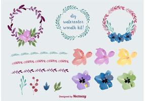 Vattenfärg Blomkransvektorer