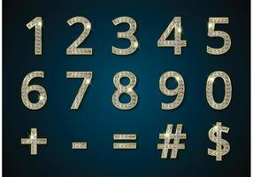 Freie goldene Ziffern und Symbole mit Diamanten Vektor