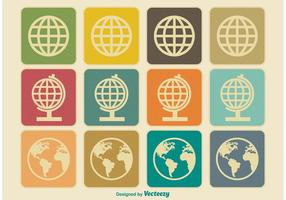 Vintage Earth / Globe Ikoner vektor