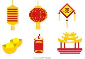 Kinesiska Lunar New Year Ikoner Vector