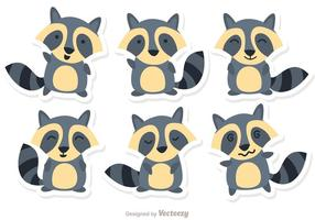 Tecknad raccoon Set Vector