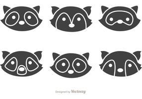 Enkla tvättbjörn huvud ikoner vektor