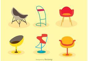 Platta ikoner restaurang stol vektorer