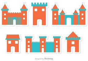Platt ikon fort slott vektorer