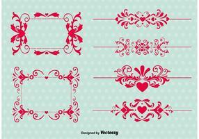 Vintage kärlek prydnad vektorer
