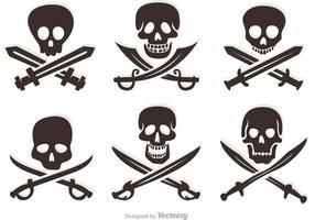 Set Piraten Vektor Schädel