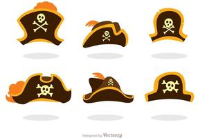 Set av pirat hattar vektorer