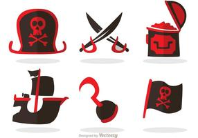 Piratikoner Vektor Set