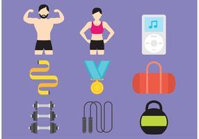 Gym och hälsa vektor ikoner