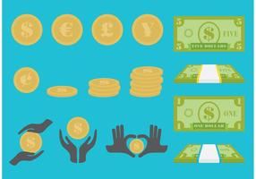 Räkningar och kontanter vektor ikoner