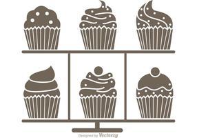 Silhouette Cupcake Ställvektor