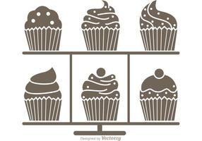 Silhouette Cupcake Stand Vektor