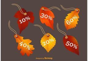 Fall Leaves Vector Prisetiketter