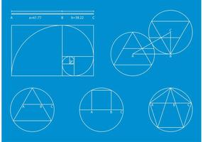 Golden Ratio Blue Print Vector