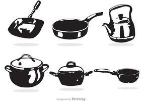 Svartvit Vit Matlagning Pan Vektorer