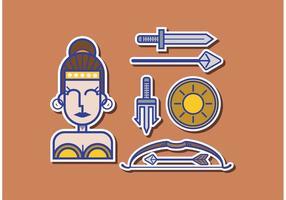 Athene Griechische Göttin Vektor Pack