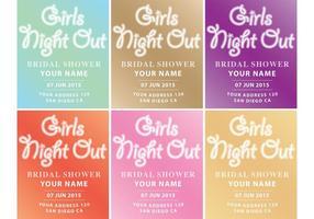 Mädchen-Nacht heraus Einladungs-Vektoren vektor