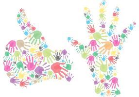 Händer och handavtryck vektorer