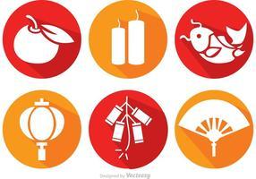 Lange Schatten Chinesische Lunar Neujahr Icons Vektor