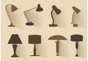 Gratis vektor uppsättning lamp silhuetter