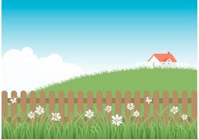 Free Wooden Picket Zaun mit Gras vektor
