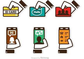 Identifikationskarte in Handvektoren