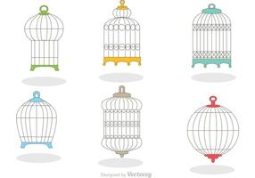 Samling av Vintage Bird Cage Vector