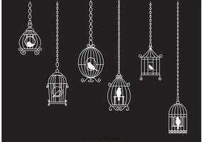 Hängande Vit Vintage Bird Cage Chain Vector